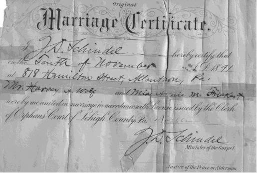 Harvey and Annie Wolfe Marriage Certificate